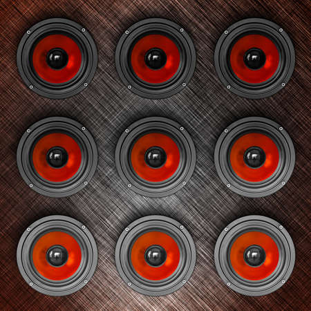 Wall-o-sound in red, square composition photo