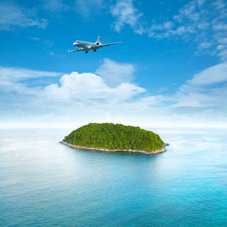 Private jet plane is over a tropical island  Luxury style living concept    Square composition  photo