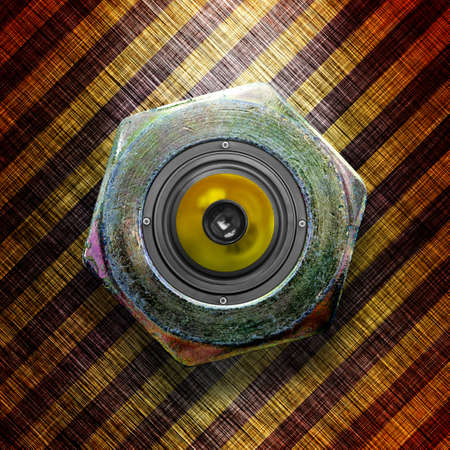 Stylish metallic loudspeaker  Square composition  photo