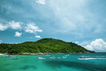 Boats in a beautiful tropical lagoon Stock Photo - 13429321