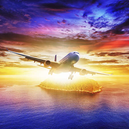 Jet plane over tropical island at sunset time  Square composition  Stock Photo - 13941730