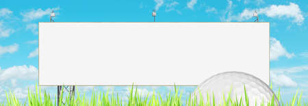 Advertising of golf events   blank billboard and golf ball  Panoramic composition  photo