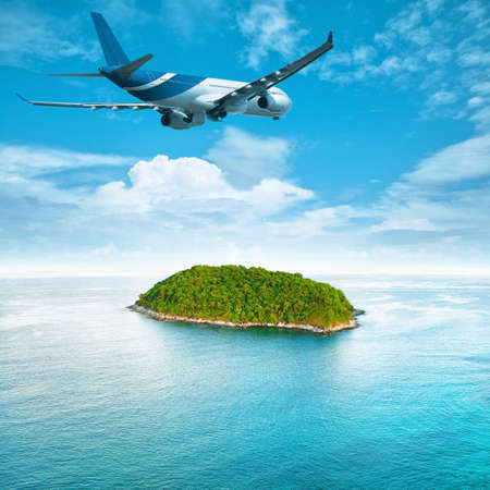Jet plane over the tropical island. Square composition. photo