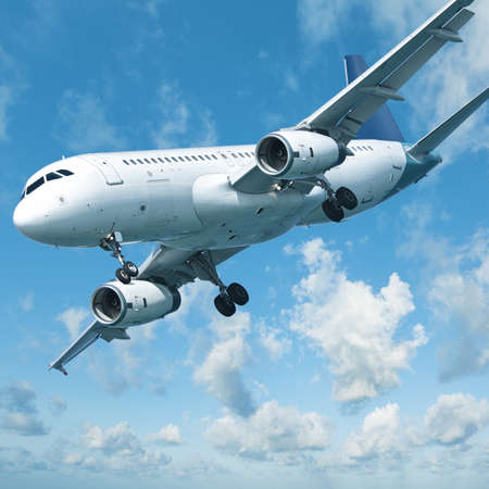 maneuvering: Jet aircraft is maneuvering for landing, square composition Stock Photo