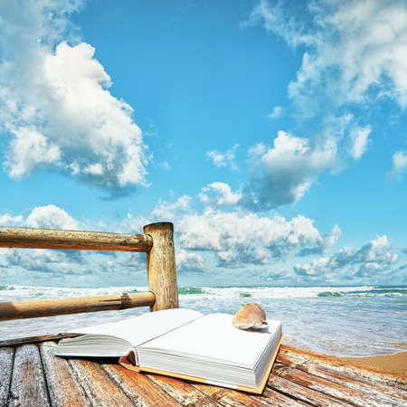 Book with a seashell on the bamboo chair at the beach. Square composition.
