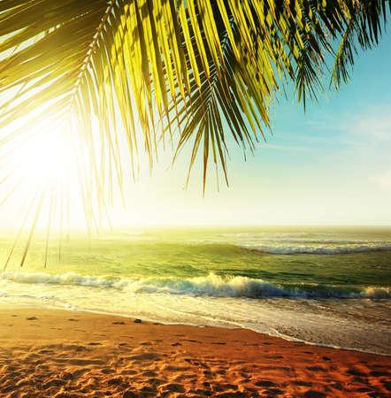 熱帯のビーチに沈む夕日。HDR 処理します。