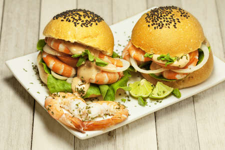 Delicious shrimp burgers photo
