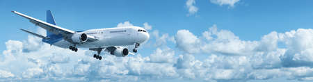 Jet plane in a blue cloudy sky. Panoramic shot. Stock Photo - 16984268