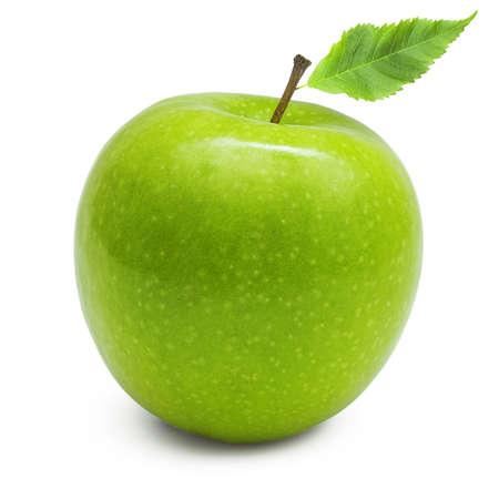 manzana verde: Manzana verde, aislado en fondo blanco