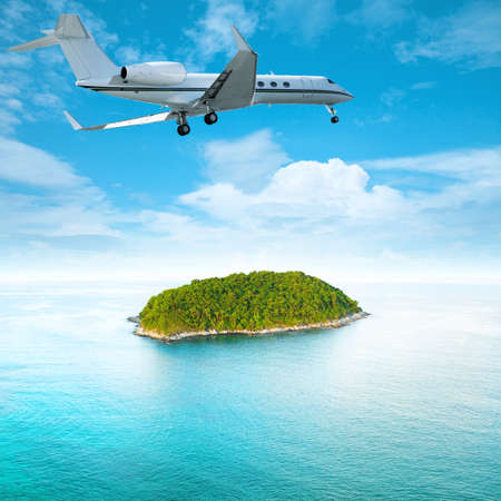 Private jet over the tropical island  Square composition  Stock Photo - 17859939
