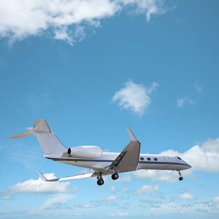 Private jet in a sky is maneuvering for landing. Square composition. Stock Photo - 17860002