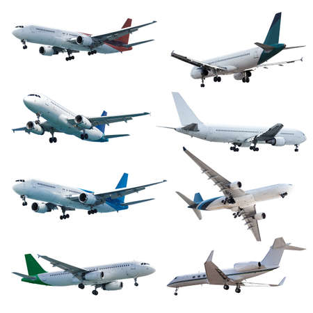 Rel jet planes set, isolated on white background photo