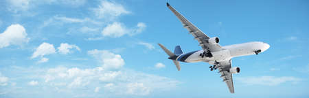 maneuver: Jet in a blue cloudy sky. Panoramic composition.