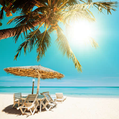Tropical beach in sunny day. Square composition. photo