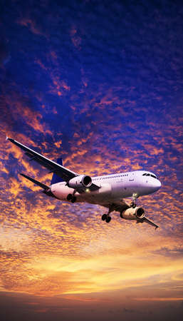 Jet aircraft maneuvering in a sunset sky  Vertical panoramic composition  photo
