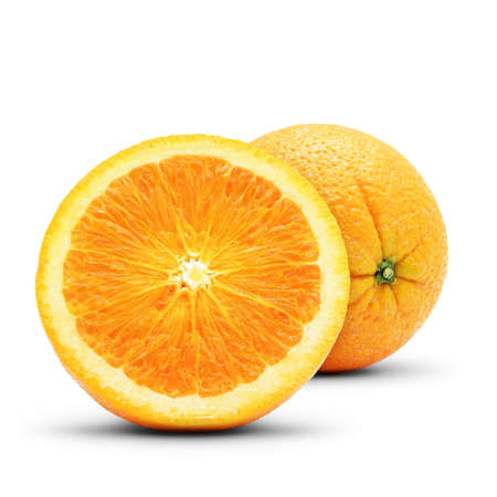 focus stacking: Perfect orange composition. Isolated on white background.