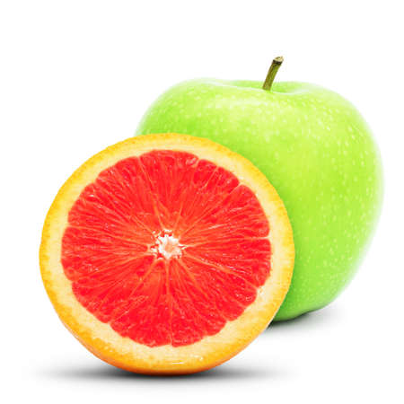 focus stacking: Grapefruit and green apple. Large depth of field. Isolated on white background.