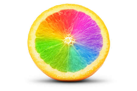 focus stacking: Perfect slice of orange as spectrum. Isolated on white. Stock Photo