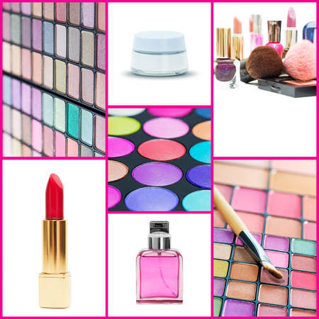 cosmetics collection: Cosmetics collection  Square composition  Stock Photo