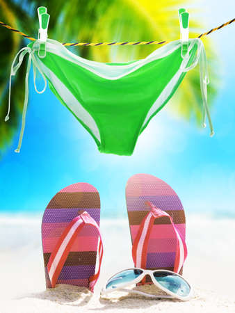 vertical composition: My tropical vacation. Vertical composition. Stock Photo