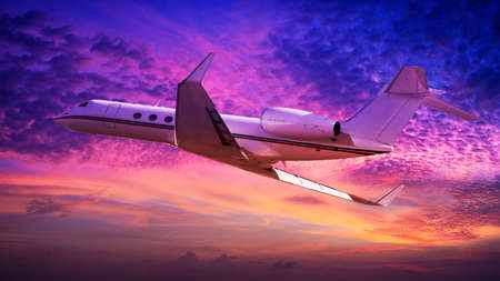 Private jet cruising at sunset photo