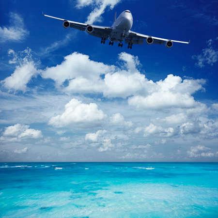 jumbo jet: Jumbo jet is landing at seaside airport