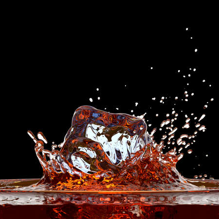 ? ? ? ?    ? ? ? ?   ? ?  ?  splash: Cola (o whisky) splash contra negro Foto de archivo
