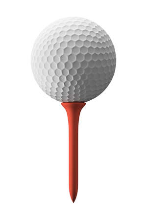 3d ball: Golf ball and red tee, isolated on white Stock Photo