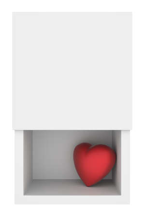 pulsing: Lonely heart in a box, 3D render Stock Photo