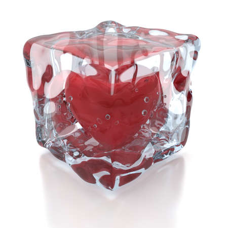 Frozen heart inside the ice cube, 3D render Stock Photo