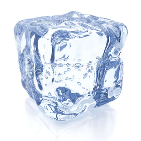 Ice cube against white, 3D render Stock Photo