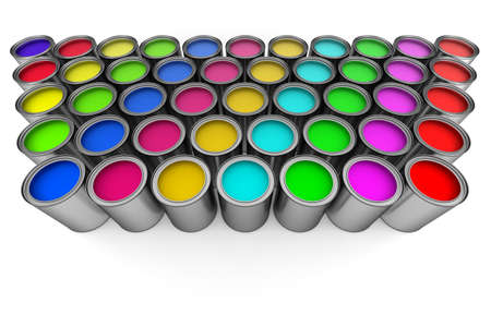 paint cans: Paint cans on white Stock Photo