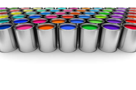 decorating: Paint cans on white Stock Photo