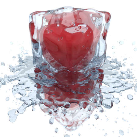 Heart inside the ice cube, with water splash, 3D render
