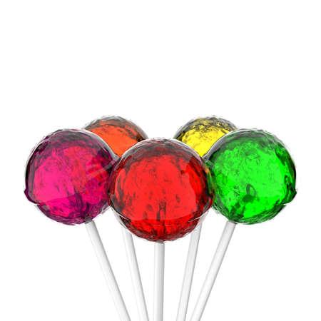 against white: Colorful lollipops against white