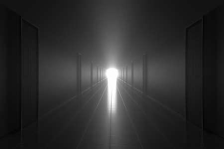 afterlife: Scary dark misty corridor. Afterlife concept.