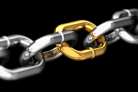 Golden link in a chain macro Stock Photo