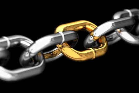 Golden link in a chain macro Standard-Bild