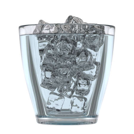 mineral water: Glass of mineral water with ice, 3D render Stock Photo