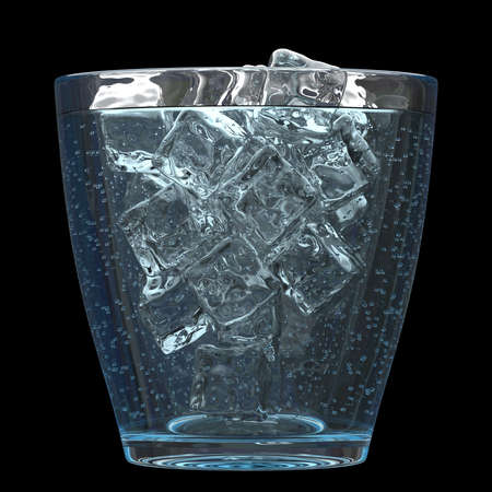 seltzer: Sparkling water with ice, 3D render