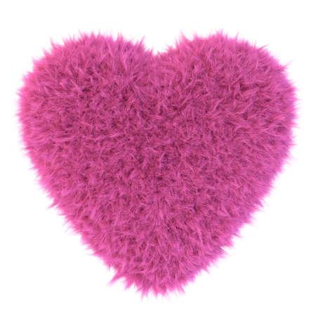 fur: Pink fur heart, 3D render Stock Photo