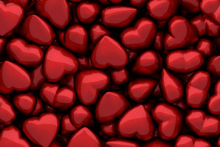 3D render of many dark red glossy hearts as background