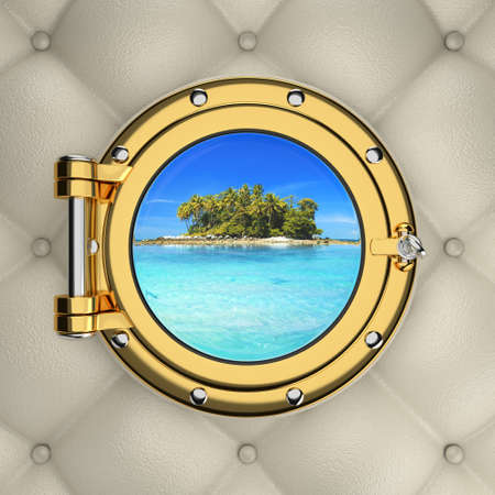sidelight: Exotic tropical island from the luxurious boat window