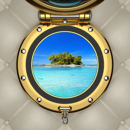 sidelight: Exotic turquoise lagoon and island from the luxurious boat window Stock Photo
