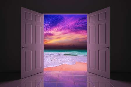 coastlines: Your doorway to the sunset beach Stock Photo