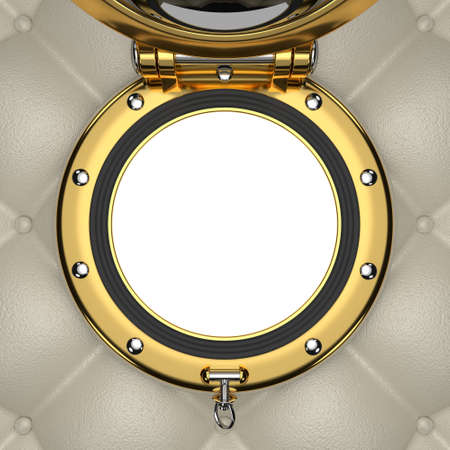 luxurious: Porthole of the luxurious yacht, 3D illustration Stock Photo