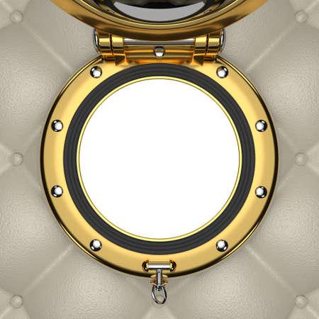 sidelight: Porthole of the luxurious yacht, 3D illustration Stock Photo