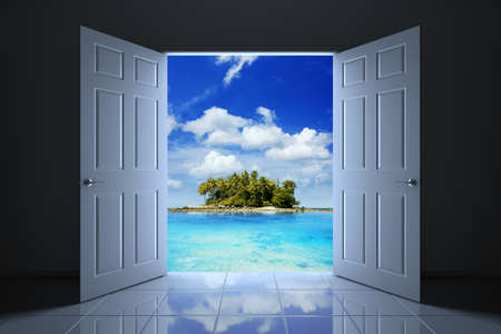 coastline: Your doorway to the tropical island, 3D illustration