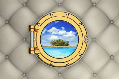 sidelight: View of the exotic tropical island from the porthole of luxurious yacht, 3D illustration Stock Photo