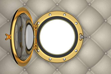 Bullaugen oder Fenster der luxuus Yacht, 3D-Darstellung